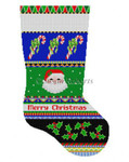 "0158 Bold Stripe Santa Face & Candy Canes, stocking 13 Mesh 19"" h Susan Roberts Needlepoint"