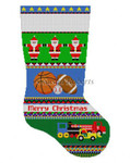 "0144 Bold Stripe Sport Balls & Trucks. stocking 19"" h 13 Mesh Susan Roberts Needlepoint"
