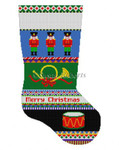 "0140 Bold Stripe Nutcracker, stocking 13 Mesh 19"" h Susan Roberts Needlepoint"
