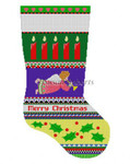 "0139 Bo{d Stripe Angel. stocking 13 Mesh 19"" h Susan Roberts Needlepoint"