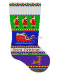 "0138 Bold Stripe Santa, stocking 13 Mesh 19"" h Susan Roberts Needlepoint"
