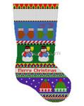 "0143 Bold Stripe. Snowman. Hats & Mittens. stocking 13 Mesh 19"" h Susan Roberts Needlepoint"