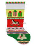 """0141 Bold Stripe Rocking Horse, stocking 13 Mesh 19"""" h Susan Roberts Needlepoint"""