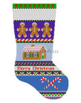 "0136 Bold Stripe Gingerbread stocking 13 Mesh 19"" h Susan Roberts Needlepoint"