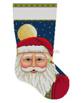 "0134 Santa Face With Moon, stocking 13 Mesh 19"" h Susan Roberts Needlepoint"