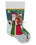"0130 Walking Stick Santa stocking 13 Mesh 19"" h Susan Roberts Needlepoint"