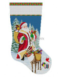 "0156 Santa Reindeer & Toy Baskets, stocking #'13 Mesh 19"" h Susan Roberts Needlepoint"