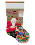 "0157 Santa & Trains. stocking 13  Mesh 19"" h  Susan Roberts Needlepoint"