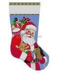 """0195 Santa Carrying Toys, stocking 13 Mesh 19"""" h Susan Roberts Needlepoint"""