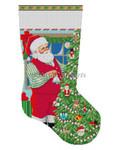 """0196 Santa Decorating Toy Tree. stocking 13 Mesh 19"""" h Susan Roberts Needlepoint"""