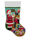 "0116 Santa's Milk And Cookies. stocking 13 Mesh Susan Roberts Needlepoint 19"" h"