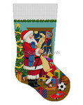 "0115 Santa's List, Boys Sports Toys, stocking 13 Mesh Susan Roberts Needlepoint 19"" h"