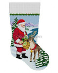 "0119 Santa Feeding Apples To Reindeer, stocking 13 Mesh Susan Roberts Needlepoint 19"" h"