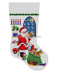"0128 Sitting Santa, In Front OJ Window Boy, stocking #13 Mesh 19"" h Susan Roberts Needlepoint"