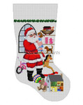 "0129 Sitting Santa, In Front OJ Window Girl, stocking #13 Mesh 19"" h Susan Roberts Needlepoint"