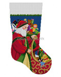 "0135 Santa At Sleigh Stocking #13 Mesh 19"" h Susan Roberts Needlepoint"