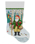 "0104 Santa Feeding The Birds. stocking 13  Mesh Susan Roberts Needlepoint 19"" h"