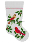"0105 Cardinals ln Holly. stocking 13 Mesh Susan Roberts Needlepoint  19"" h"