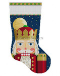 "0107 Nutcracker Face, stocking 13 Mesh Susan Roberts Needlepoint  19"" h"