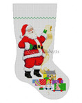 "0109 Santa With List - Girl Toys, stocking 13 Mesh Susan Roberts Needlepoint  19"" h"