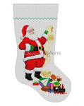 "0110 Santa With List - Boy Toys, stocking 13 Mesh Susan Roberts Needlepoint  19"" h"