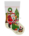 "0114 Shhh Santa With Bag Of Toys, stocking 13 Mesh Susan Roberts Needlepoint  19"" h"