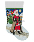 "0118  Santa Coming Up Sidewalk, stocking 13 Mesh Susan Roberts Needlepoint 19"" h"