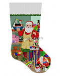 "0117 Santa Painting Ark, stocking 13 Mesh Susan Roberts Needlepoint 19"" h"