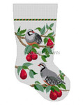 "0126 Partrldge ln Red Bartlett Pear Tree, stocking #13 Mesh 19"" h Susan Roberts Needlepoint"