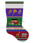 "0148 Bold Stripe Noah's Ark, stocking 13 Mesh Susan Roberts Needlepoint 19"" h"