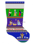 "0147 Bold Stripe Nativity. stocking #13 Mesh 19"" h Susan Roberts Needlepoint"