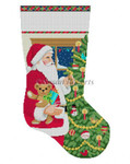 "0155 Santa & Cookies w/Tree, stocking 13 Mesh 19"" h Susan Roberts Needlepoint"