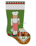 "0182 Nutcracker, Chef Lady, stocking #13 Mesh 19"" h Susan Roberts Needlepoint"