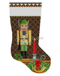 "0178 Nutcracker Hunlerl stocking #13 Mesh 19"" h Susan Roberts Needlepoint"