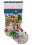 "0198 Nativity Stable. stocking #13 Mesh 19"" high Susan Roberts Needlepoint"