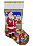 "0199 Santa Packing the Bags 13 Mesh 19"" h Susan Roberts Needlepoint"