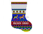 "0271 Bold Stripe Rocking Hgrse mini stocking 13 Mesh 6 1/4"" h Susan Roberts Needlepoint"