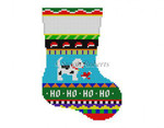 "0273 Bold Stripe Rocking Puppymini stocking 13 Mesh 6 1/4"" h Susan Roberts Needlepointnn"