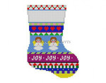 "0274 Bold Stripe Rocking Angels mini stocking 13 Mesh 6 1/4"" h Susan Roberts Needlepoint"