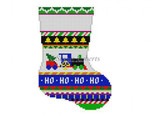"0275 Bold Stripe Rocking Train mini stocking 13 Mesh 6 1/4"" h  Susan Roberts Needlepoint"
