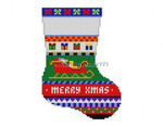 "0276 Bold Stripe Sleigh, mini stocking 13 Mesh 6 1/4"" h Susan Roberts Needlepoint"