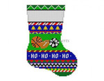 "0279 Bold Slripe Sports Balls, mini stocking 13 Mesh 6 1/4"" h Susan Roberts Needlepoint"