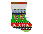 "0281 Bold Stripe Santas, mini stocking 13 Mesh 6 1/4"" h  Susan Roberts Needlepoint"