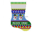 "0284 Bold Stripe Snowman. mini stocking 13 Mesh 6 1/4"" h Susan Roberts Needlepoint"