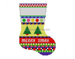"0285 Bold Stripe Christmas Tree, mini stocking 13 Mesh 6¼"" h Susan Roberts Needlepoint"
