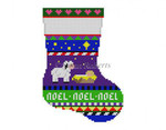 "0286 Bold Stripe Lamb, mini stocking 13 Mesh 6 1/4"" h Susan Roberts Needlepoint"