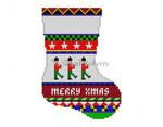 "0287 Bold Stripe Soldiers. mini Stocking 13 Mesh 6 1/4"" h Susan Roberts Needlepoint"