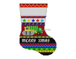 "0290 Bold Stripe, Trucks, mini stocking 13 Mesh 6 1/4"" h Susan Roberts Needlepointnn"