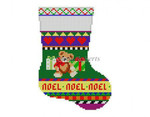 "0291 Bold Stripe. Teddy, mini stocking 13 Mesh 6 1/4"" h Susan Roberts Needlepoint"