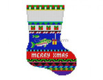 "0294 Bold Stripe Fish Present, mini stocking 13 Mesh 6 1/4"" h Susan Roberts Needlepoint"